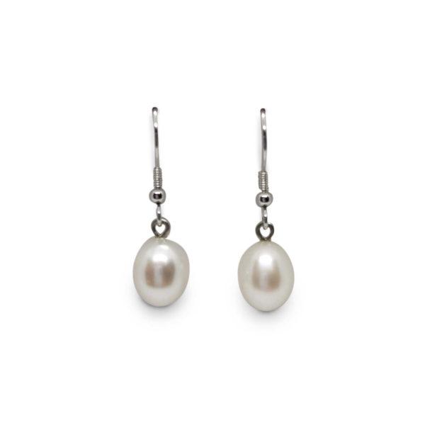 Lullu Freshwater Pearl Shepherds Hook Earrings displayed on a white background.