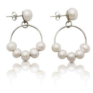 Belle Pearl Earrings Freshwater Pearls and Hoop Earrings