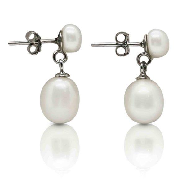 Freshwater Drop White Pearl Earrings