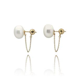 Ball & Chain Pearl Stud Earrings   Lullu Luxury Pearls South Africa