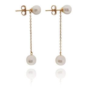 2-In-1 Pearl Stud & Dangle Earrings Gold | Lullu Luxury Pearl Jewellery