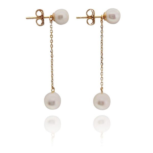 2-In-1 Pearl Stud & Dangle Earrings Gold   Lullu Luxury Pearl Jewellery