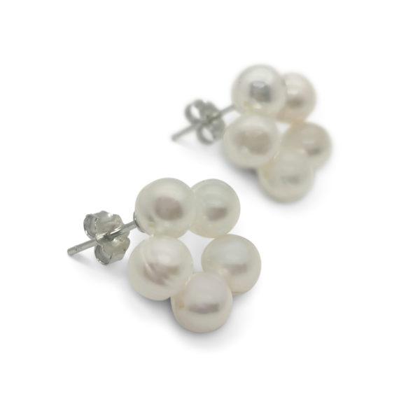 Daisy Pearl Earrings white freshwater pearls Lullu
