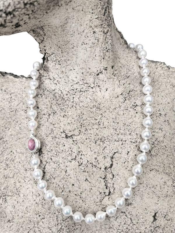 Japanese Saltwater Ruby Baroque Akoya Necklace | Lullu Pearl Jewellery