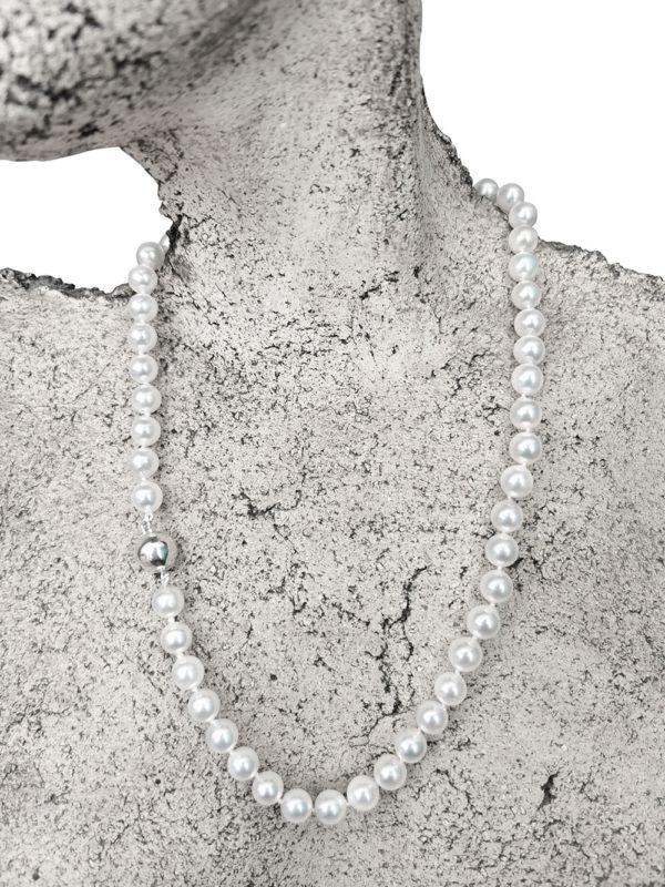 Japanese Saltwater Akoya Silver Moon Necklace | Lullu Pearl Jewellery